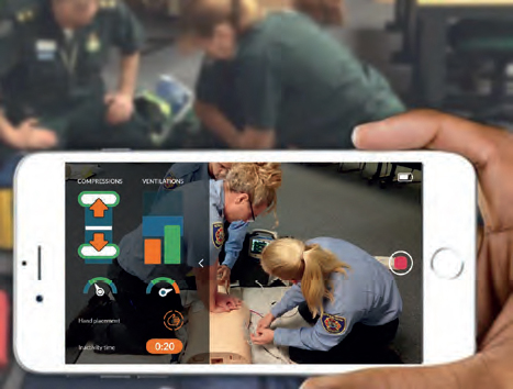 Video-based communication between bystander and dispatcher.